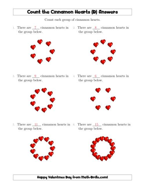 The Counting Cinnamon Hearts in Circular Arrangements (D) Math Worksheet Page 2