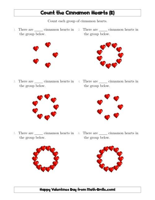 The Counting Cinnamon Hearts in Circular Arrangements (E) Math Worksheet