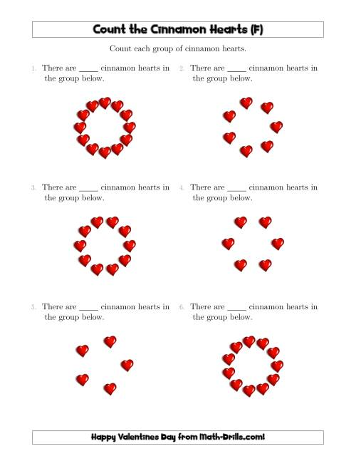 The Counting Cinnamon Hearts in Circular Arrangements (F) Math Worksheet
