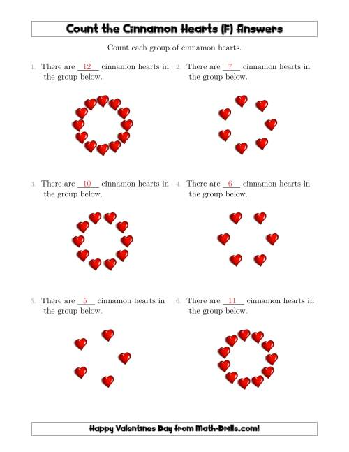The Counting Cinnamon Hearts in Circular Arrangements (F) Math Worksheet Page 2