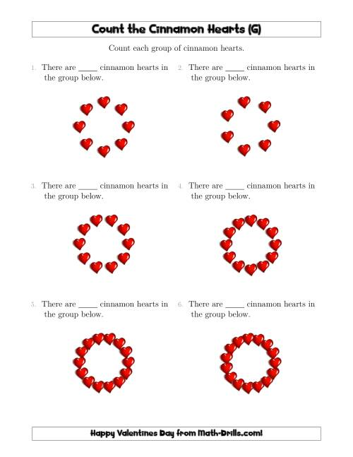The Counting Cinnamon Hearts in Circular Arrangements (G) Math Worksheet