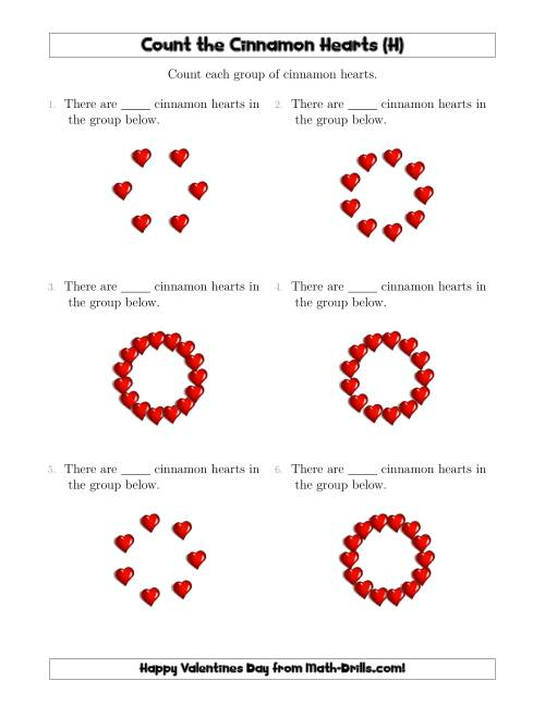 The Counting Cinnamon Hearts in Circular Arrangements (H) Math Worksheet