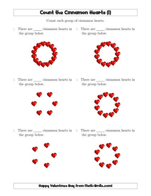The Counting Cinnamon Hearts in Circular Arrangements (I) Math Worksheet