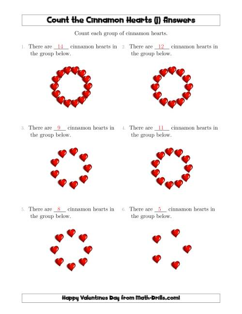 The Counting Cinnamon Hearts in Circular Arrangements (J) Math Worksheet Page 2