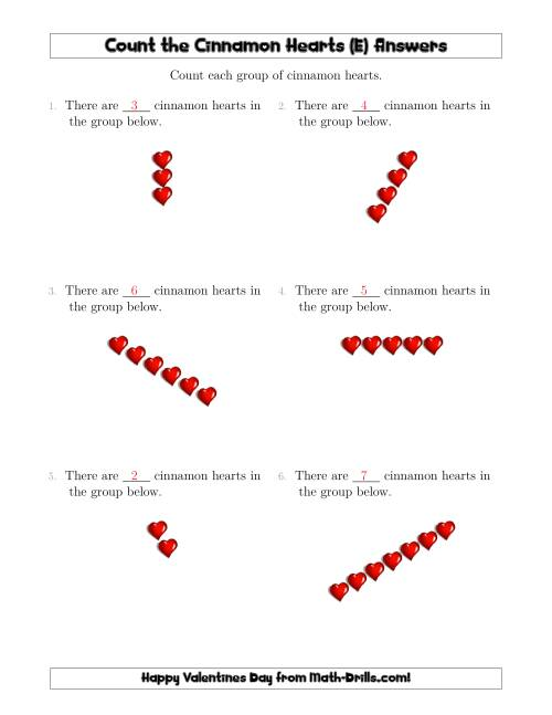 The Counting Cinnamon Hearts in Linear Arrangements (E) Math Worksheet Page 2