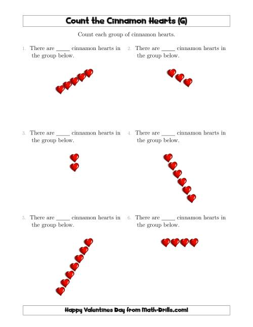 The Counting Cinnamon Hearts in Linear Arrangements (G) Math Worksheet