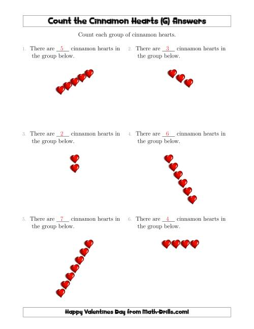 The Counting Cinnamon Hearts in Linear Arrangements (G) Math Worksheet Page 2