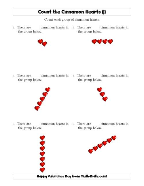 The Counting Cinnamon Hearts in Linear Arrangements (J) Math Worksheet