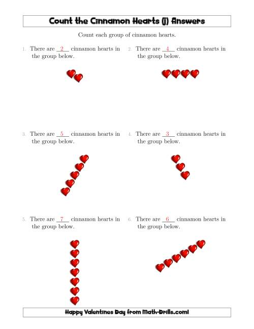 The Counting Cinnamon Hearts in Linear Arrangements (J) Math Worksheet Page 2
