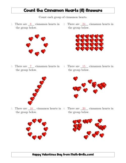 The Counting Cinnamon Hearts in Various Arrangements (A) Math Worksheet Page 2