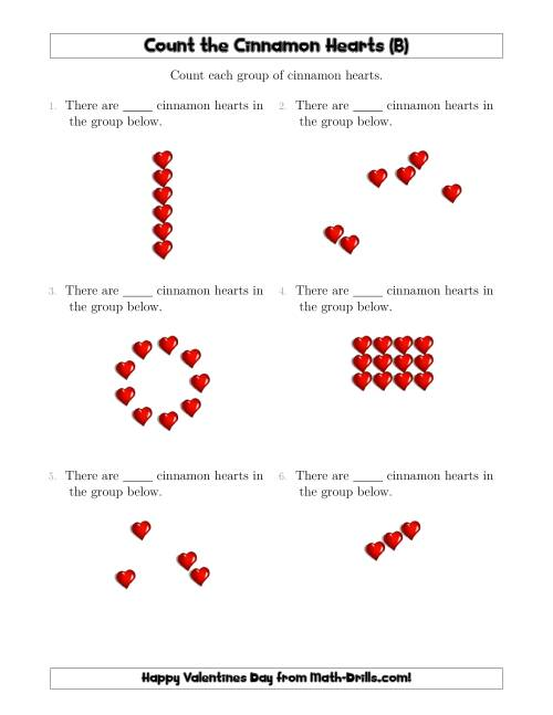 The Counting Cinnamon Hearts in Various Arrangements (B) Math Worksheet