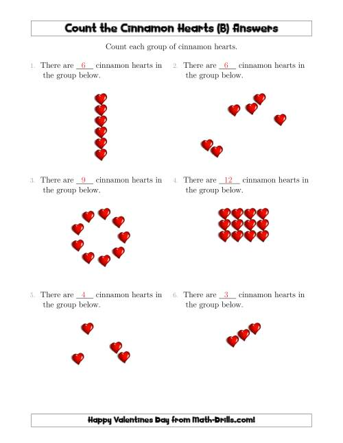 The Counting Cinnamon Hearts in Various Arrangements (B) Math Worksheet Page 2