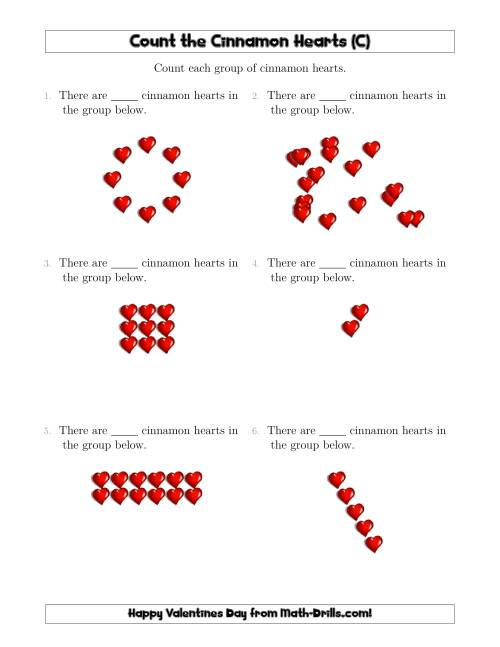 The Counting Cinnamon Hearts in Various Arrangements (C) Math Worksheet