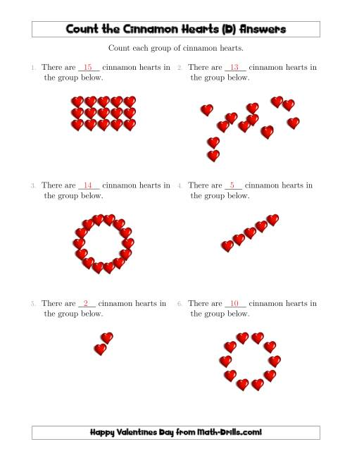 The Counting Cinnamon Hearts in Various Arrangements (D) Math Worksheet Page 2