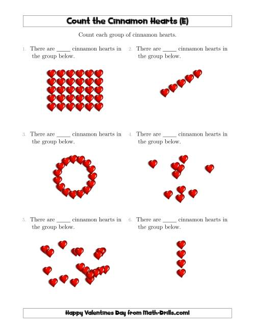 The Counting Cinnamon Hearts in Various Arrangements (E) Math Worksheet