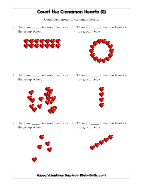 The Counting Cinnamon Hearts in Various Arrangements (G) Math Worksheet