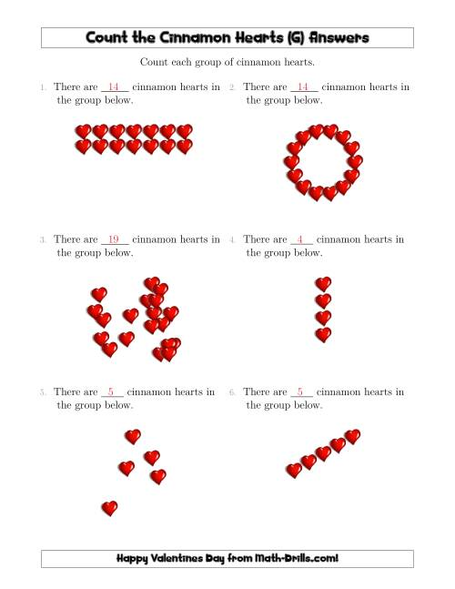 The Counting Cinnamon Hearts in Various Arrangements (G) Math Worksheet Page 2