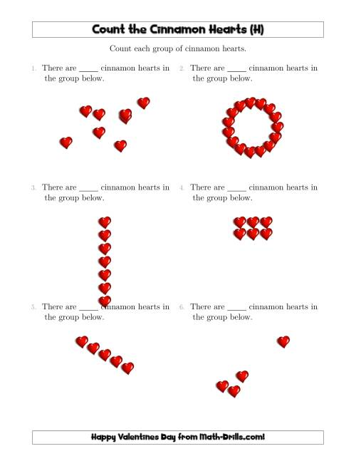 The Counting Cinnamon Hearts in Various Arrangements (H) Math Worksheet