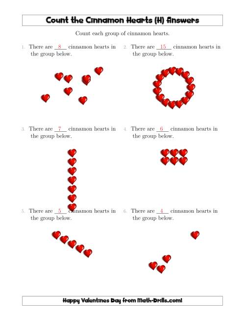 The Counting Cinnamon Hearts in Various Arrangements (H) Math Worksheet Page 2