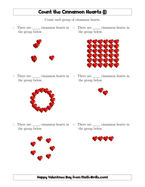 The Counting Cinnamon Hearts in Various Arrangements (J) Math Worksheet