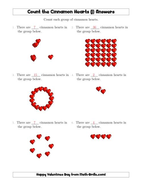 The Counting Cinnamon Hearts in Various Arrangements (J) Math Worksheet Page 2
