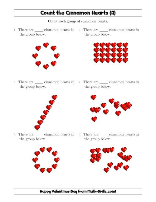 The Counting Cinnamon Hearts in Various Arrangements (All) Math Worksheet