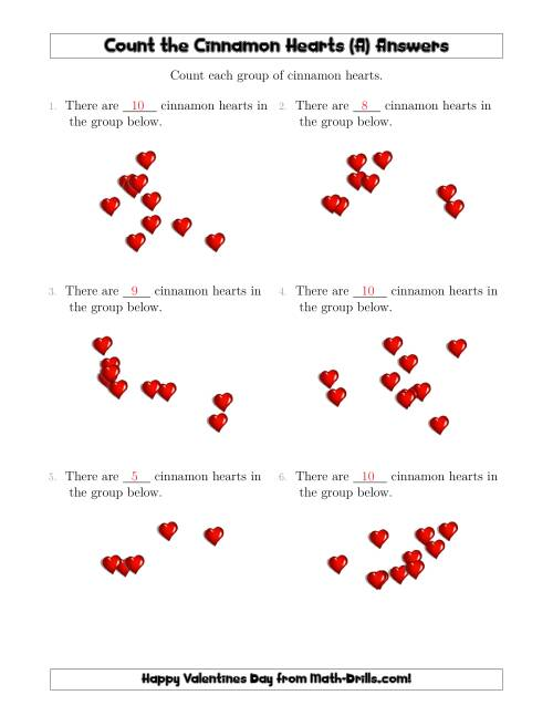 The Counting up to 10 Cinnamon Hearts in Scattered Arrangements (A) Math Worksheet Page 2