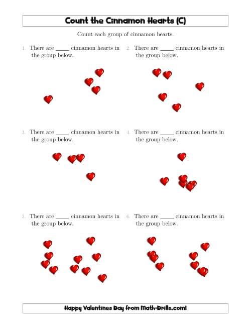 The Counting up to 10 Cinnamon Hearts in Scattered Arrangements (C) Math Worksheet
