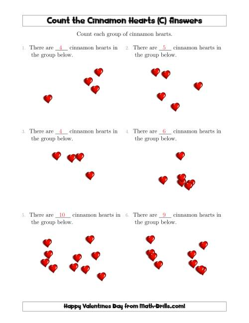 The Counting up to 10 Cinnamon Hearts in Scattered Arrangements (C) Math Worksheet Page 2