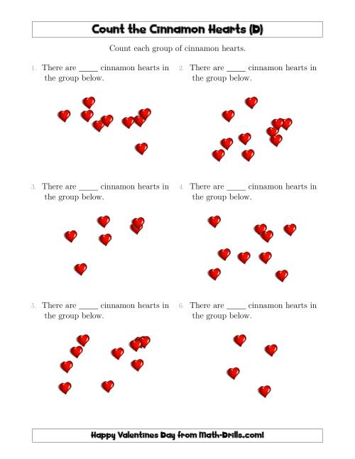 The Counting up to 10 Cinnamon Hearts in Scattered Arrangements (D) Math Worksheet