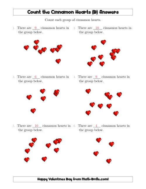 The Counting up to 10 Cinnamon Hearts in Scattered Arrangements (D) Math Worksheet Page 2