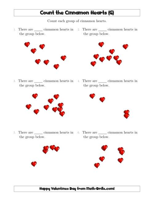 The Counting up to 10 Cinnamon Hearts in Scattered Arrangements (G) Math Worksheet