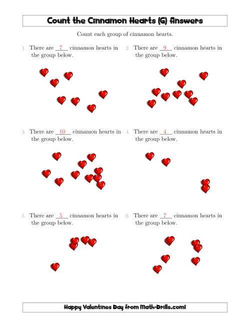 The Counting up to 10 Cinnamon Hearts in Scattered Arrangements (G) Math Worksheet Page 2