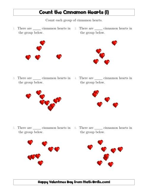 The Counting up to 10 Cinnamon Hearts in Scattered Arrangements (I) Math Worksheet