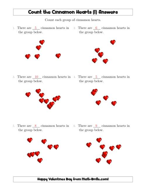 The Counting up to 10 Cinnamon Hearts in Scattered Arrangements (I) Math Worksheet Page 2