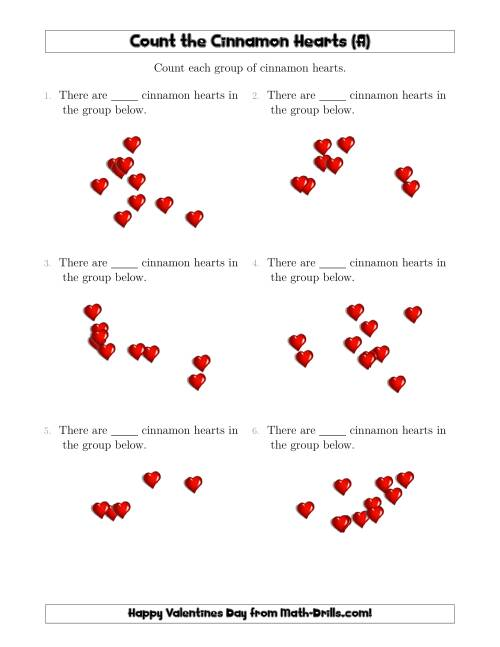 The Counting up to 10 Cinnamon Hearts in Scattered Arrangements (All) Math Worksheet