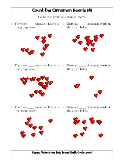 The Counting Cinnamon Hearts in Scattered Arrangements (A) Math Worksheet