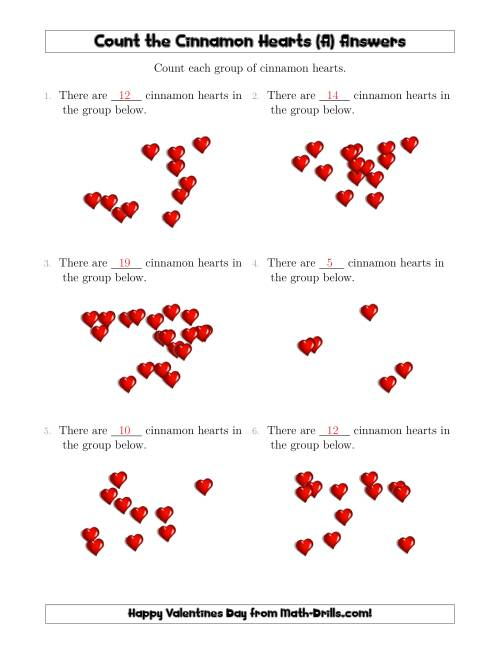 The Counting Cinnamon Hearts in Scattered Arrangements (A) Math Worksheet Page 2