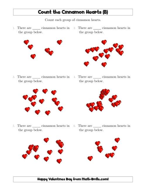 The Counting Cinnamon Hearts in Scattered Arrangements (B) Math Worksheet