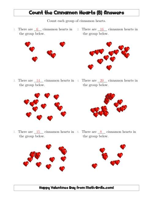 The Counting Cinnamon Hearts in Scattered Arrangements (B) Math Worksheet Page 2
