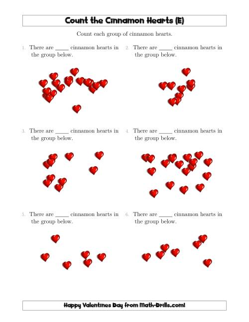 The Counting Cinnamon Hearts in Scattered Arrangements (E) Math Worksheet