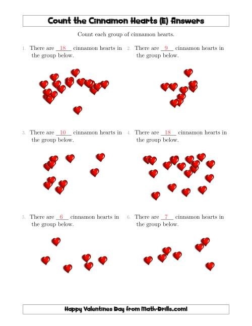 The Counting Cinnamon Hearts in Scattered Arrangements (E) Math Worksheet Page 2