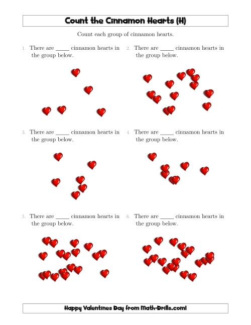 The Counting Cinnamon Hearts in Scattered Arrangements (H) Math Worksheet