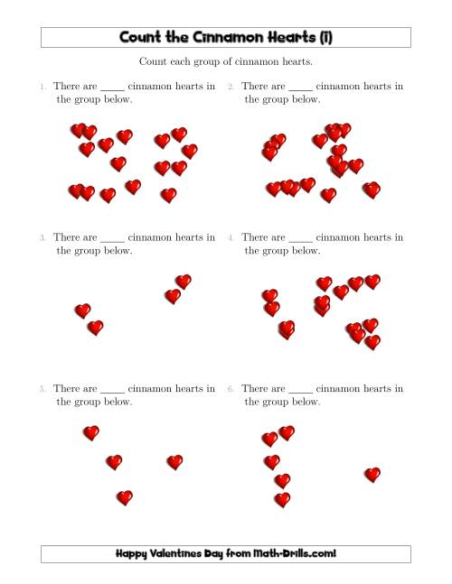 The Counting Cinnamon Hearts in Scattered Arrangements (I) Math Worksheet
