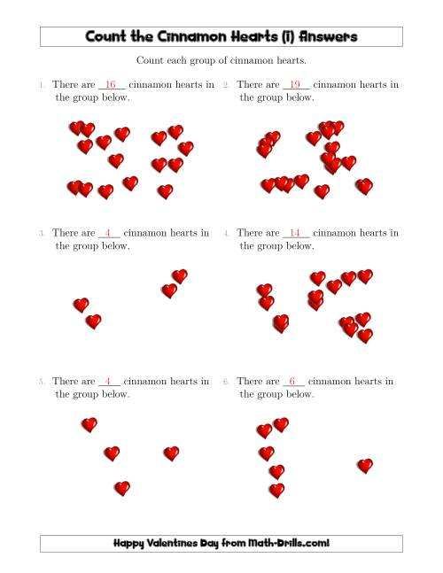 The Counting Cinnamon Hearts in Scattered Arrangements (I) Math Worksheet Page 2