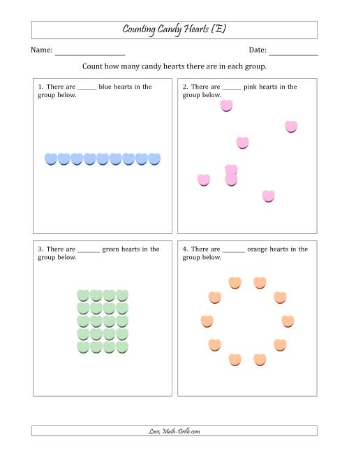 The Counting Candy Hearts in Various Arrangements (Easier Version) (E) Math Worksheet