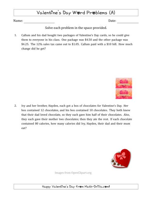 The Valentine's Day Math Word Problems (Multi-Step) (A) Math Worksheet