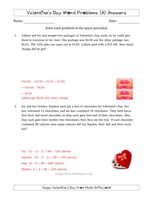 The Valentine's Day Math Word Problems (Multi-Step) (A) Math Worksheet Page 2