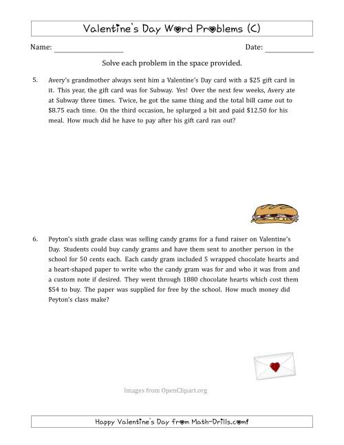 The Valentine's Day Math Word Problems (Multi-Step) (C) Math Worksheet