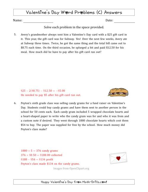 The Valentine's Day Math Word Problems (Multi-Step) (C) Math Worksheet Page 2